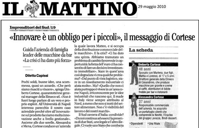 """Messaggio di Cortese su """"Il Mattino"""""""